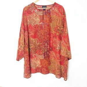 Avenue Red Floral Sheer Top Size 22/24